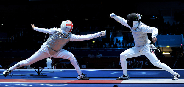 Great Britain's James Davies (left) in action during his Fencing Men's Individual Foil, Round of 32 match against Germany's Peter Joppich