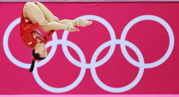Beth Tweddle, competes on the floor during the Artistic Gymnastics Team Qualification, London 2012