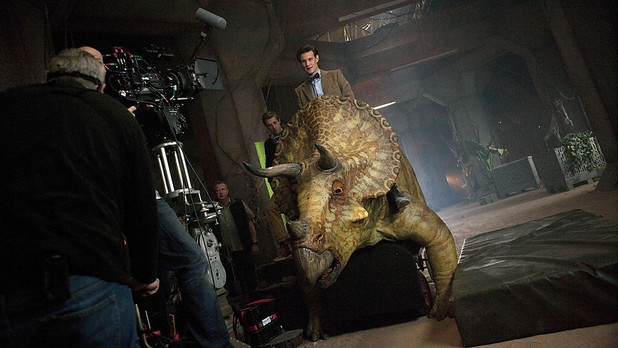 The Doctor and a dinosaur