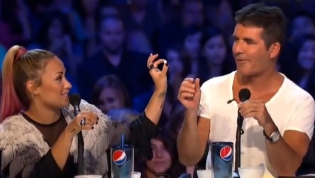 Demi Lovato and Simon Cowell on X Factor