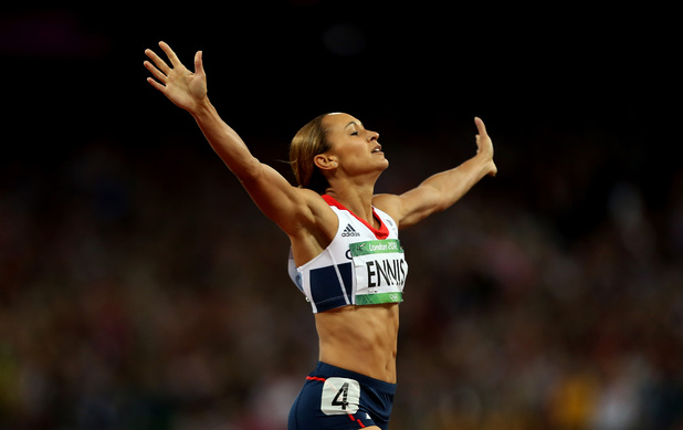 Great Britain's Jessica Ennis celebrates winning the Heptathlon, after the 800m