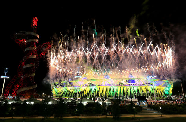 London 2012 Olympics Closing Ceremony: Fireworks over the Olympic Stadium
