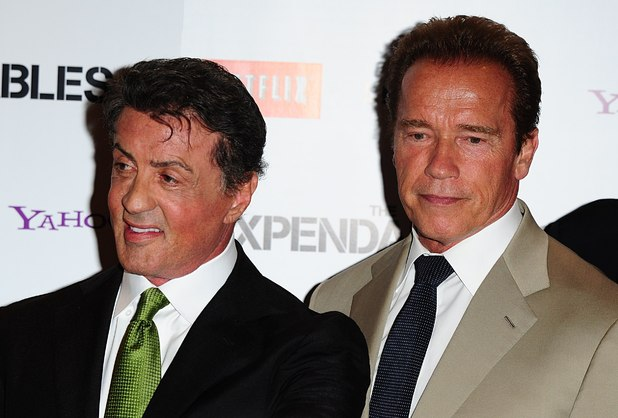 Sylvester Stallone and Arnold Schwarzenegger arriving for the UK Premiere of The Expendables 2, at the Empire Cinema, Leicester Square, London.