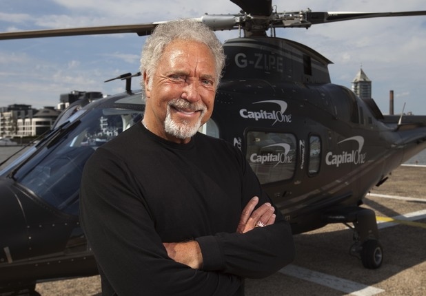 Tom Jones prepares to jet to V Festival in an exclusive helicopter.