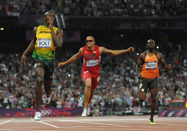 Jamaica's Usain Bolt (left) wins the Men's 200m Final