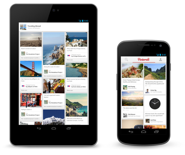 Pinterest apps for Android, iPhone and iPad