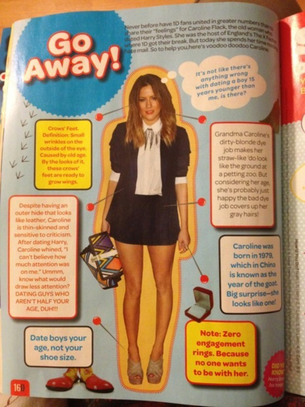 An article attacking Caroline Flack in the magazine &#39;Girl's Guide to One Direction&#39;