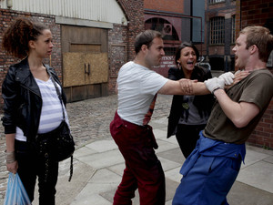 Corrie Tyrone lashes out at Tommy, Tina tries to break it up.