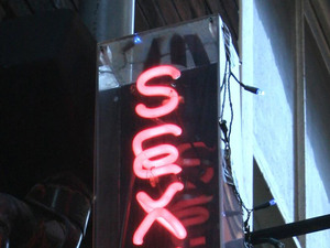 General view of a sign on a sex shop in London's Soho