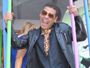 Craig Charles having fun on the Corrie float.