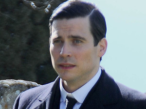 Rob James-Collier (Thomas Barrow) on the set of 'Downton Abbey'