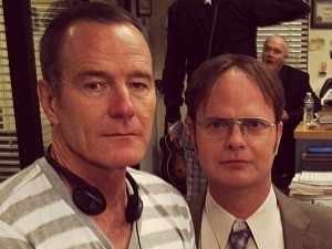 Bryan Cranston & Rainn Wilson on 'The Office' set