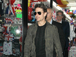 Tom Cruise leaves Chinawhite via a shop in busy Oxford Street after watching son Connor Cruise Djing at the nightclub London, England - 24.08.12 Mandatory Credit: WENN.com