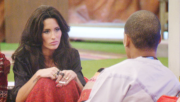 Harvey and Jasmine Lennard chatting in the Celebrity Big Brother house.