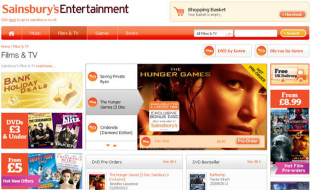 Sainsbury's digital films and TV service screenshot