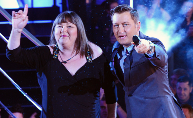 Cheryl Fergison with Brian Dowling after leaving the Celebrity Big Brother House at Elstree Studios in London. Picture date: Friday August 24, 2012. See PA story SHOWBIZ Brother. Photo credit should read: Ian West/PA Wire