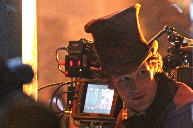 Matt Smith at the filming of the BBC Christmas Day special of Doctor Who in Bristol
