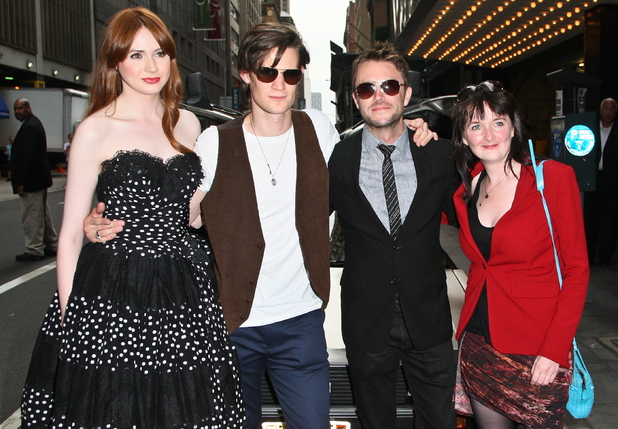 Karen Gillan, Matt Smith, Chris Hardwick and Caroline Skinner arrive for the screening.