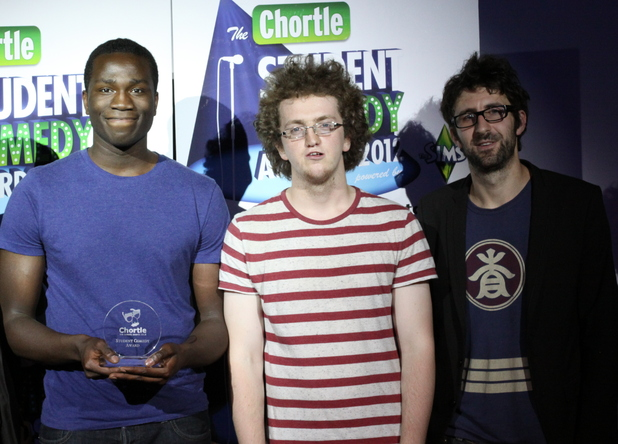 Mark Watson with winners of the Chortle Student Comedy Awards.