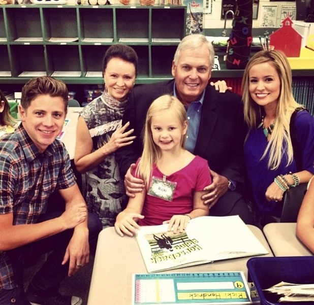 The Bachelorette winner Jef Holm with Emily Maynard, her daughter Ricki, and Maynard's former parents-in-law Rick Hendrick and Linda Hendrick