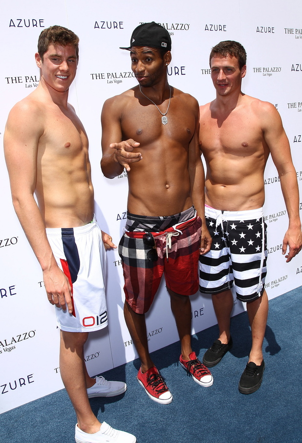 Conor Dwyer, Cullen Jones, Ryan Lochte swimmers celebrate their Olympic success by hosting a day at Azure Pool inside The Palazzo Resort Hotel & Casino Las Vegas, Nevada