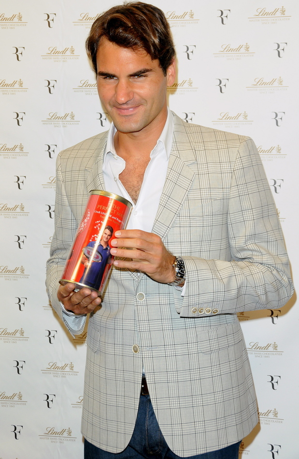 Roger Federer Lindt Premium Chocolate Party at the Lindt Fifth Avenue store New York City