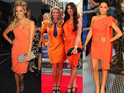 Cara Kilbey, Jennifer Aniston and more in dresses that match their orange glow.