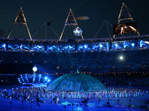 A general view of performers during the Opening Ceremony for the London Paralympic Games 2012 at the Olympic Stadium