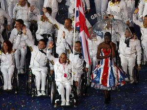 ParalympicsGB enter the stadium lead by flag bearer Peter Norfolk during the Paralympics Games Opening Ceremony