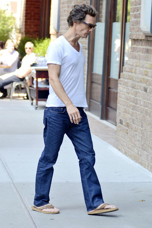 A noticeably thin Matthew McConaughey seen returning to his hotel in Manhattan New York City