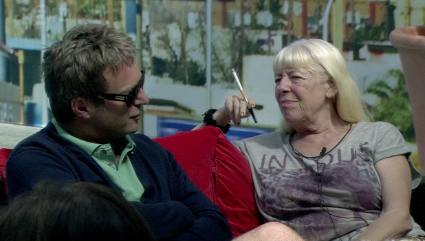 Julian Clairy and Julie Goodyear appear smoking in the garden on ' Celebrity Big Brother ' Shown on Channel 5 HDEngland - 24.08.12 Supplied by WENN.comWENN does not claim any ownership including but not limited to Copyright or License in the attached material. Any downloading fees charged by WENN are for WENN's services only, and do not, nor are they intended to, convey to the user any ownership of Copyright or License in the material. By publishing this material you expressly agree to indemnify and to hold WENN and its directors, shareholders and employees harmless from any loss, claims, damages, demands, expenses (including legal fees), or any causes of action or  allegation against WENN arising out of or connected in any way with publication of the material.