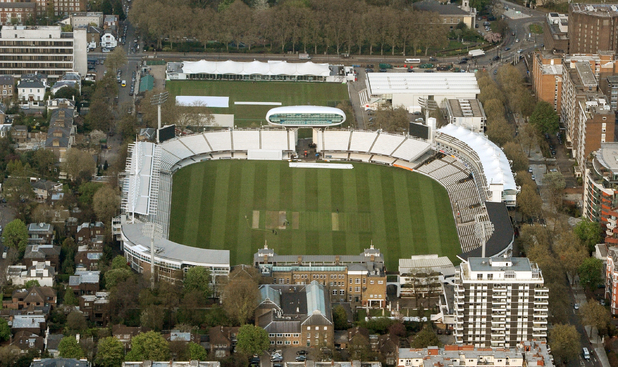 Aerial view as ground staff attend the wicket at Lord's cricket ground