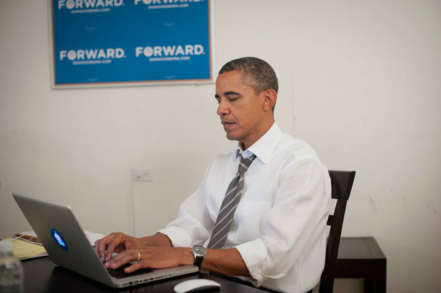 A picture of Barack Obama as posted on his official twitter account
