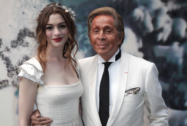 Anne Hathaway and Valentino Garavani The White Fairy Tale Love Ball at the Chateau de Wideville - Arrivals Paris, France