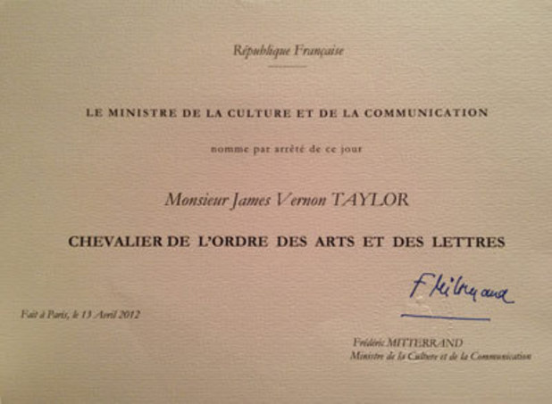 James Taylor's Chevalier of the Order of Arts and Letters invitation