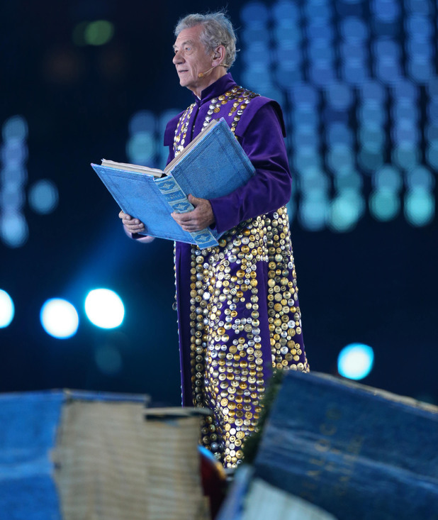 Sir Ian McKellen performs his role at the Paralympics Games Opening Ceremony