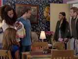 Tina and Tommy arrive with a present for the baby, but Kirsty and Tyrone ask them to leave