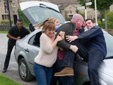 Emmerdale 6344: Marlon and Paddy get into a fight as the taxi arrives to take Paddy and Rhona to the airport