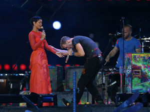 Rihanna and Coldplay's Chris Martin at the Paralympics closing ceremony