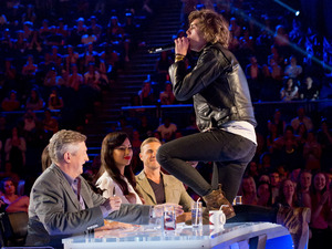 Eddy gets close to the judges.