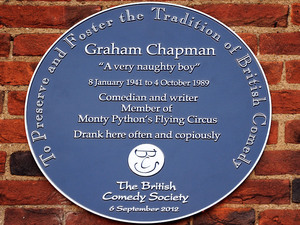 A general view of a British comedy society plaque outside The Angel Inn in Highgate, London, dedicated to former Monty Python star Graham Chapman.