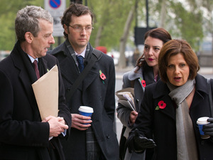 The Thick of It: Malcolm Tucker (PETER CAPALDI), Olly Reeder (CHRIS ADDISON), Helen Hawkins (REBECCA GETHINGS), Nicola Murray (REBECCA FRONT)