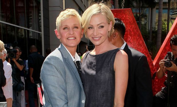 Ellen DeGeneres with wife Portia de Rossi at her Hollywood Walk of Fame induction - September 4, 2012