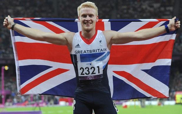 Great Britain's Jonnie Peacock celebrates winning gold in the Men's 100m - T44 Final