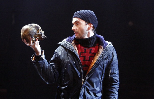 David Tennant staring as 'Hamlet' on stage in 2008