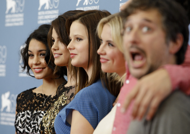 Vanessa Hudgens, Selena Gomez, Rachel Korine, Ashley Benson and director Harmony Korine, Venice Film Festival