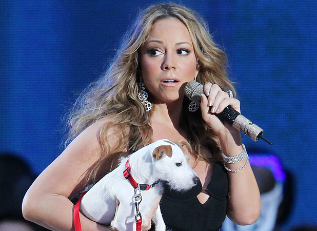 Mariah Carey with her dog Jill E. Beans