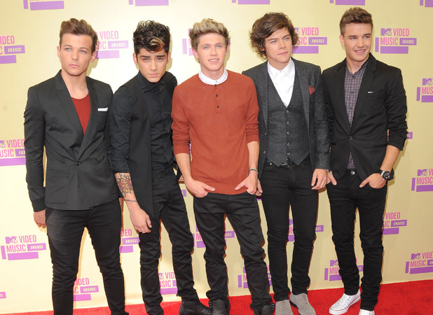 Liam Payne (l-r), Louis Tomlinson, Niall Horan, Zayn Malik and Harry Styles of One Direction 2012 MTV Video Music Awards, held at the Staples Center - Arrivals Los Angeles, California - 06.09.12 **Not available for publication in Germany. Available for publication in the rest of the world** Mandatory Credit: Ian Wilson/WENN.com
