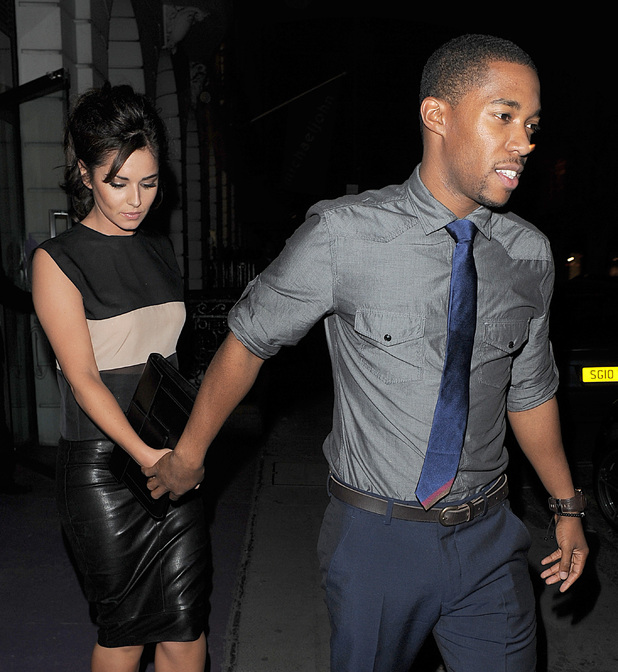 Cheryl Cole enjoys a late dinner with new beau Tre Holloway at Sumosan restaurant in Mayfair. The couple spent around 3 hours inside the restaurant, before leaving together in a chauffeur driven car. Cheryl appeared to be in great spirits, and there was no sign of the sling she was pictured wearing a few days before, as a result of a car accident she had while in Los Angeles. London, England