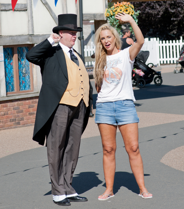 Josie Gibson meets the Fat Controller whilst spending the afternoon with fiance Luck Sanwo at Drayton Manor Theme Park